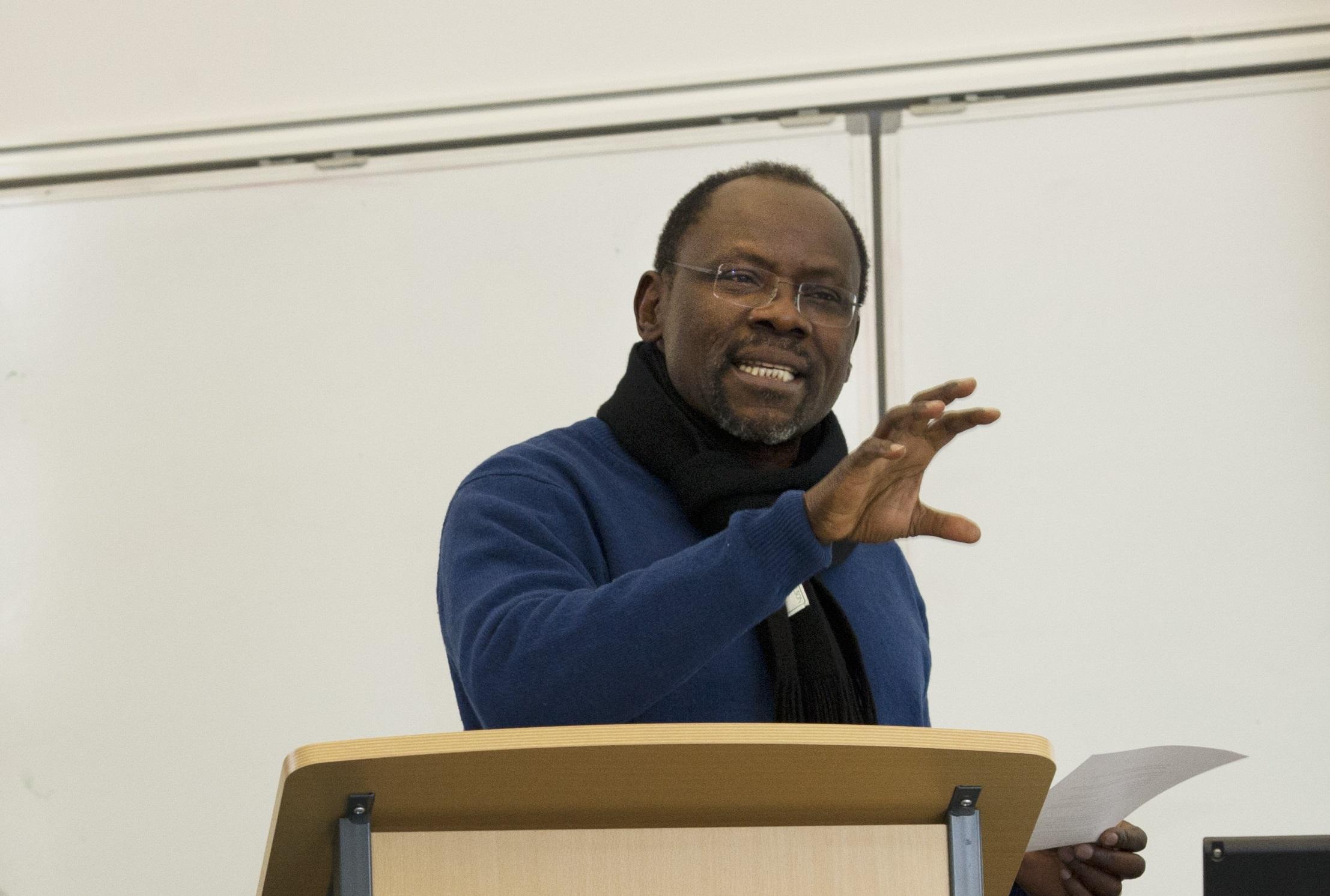 Professor Abdul Raufu Mustapha lecturing