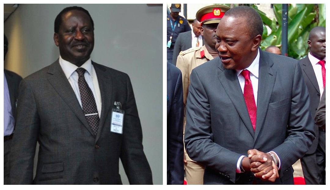 Raila Odinga and Uhuru Kenyatta in separate individual photographs