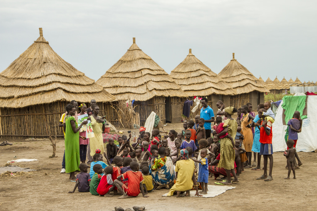 A group of South Sudanese refugees in Gambella, Ethiopia
