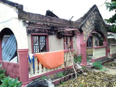 A burnt-out building in Kodomun village in Demsa local government Area, Adamawa State. Photo Credit: Patience Adzande