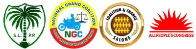 From left: Sierra Leone People's Party (SLPP), National Grand Coalition (NGC), Coalition for Change (C4C), and All People's Congress (APC)