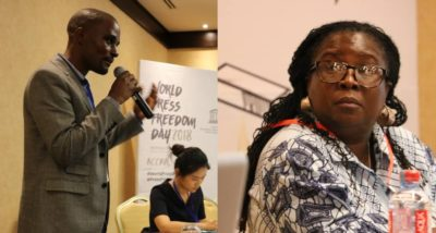 Admire Mare (left) and Audrey Gadzekpo (right) at the Word Press Freedom Day Academic Conference in Accra.