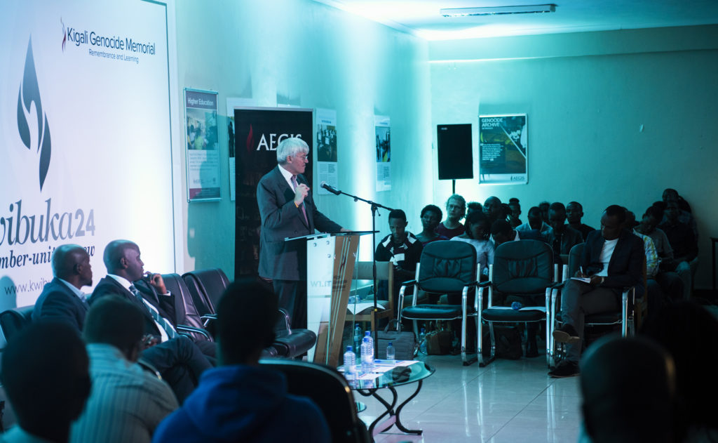Rt Hon. Andrew Mitchell speaking during the Ubumuntu Conversations on July 31. Photo Credit: Aegis Trust