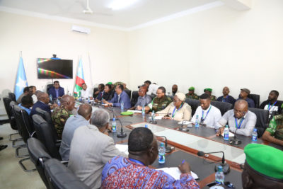 African Union Peace and Security Council delegation hold talks with various presidential candidates. Photo: AMISOM
