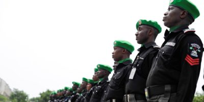 Nigerian AMISOM police officers standing in a parade during a medal award ceremony on December 5, 2014 at Mogadishu Stadium, Somalia. AU UN IST Photo / Ilyas Ahmed