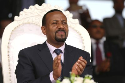 Prime Minister Abiy Ahmed attends a rally during his visit to Ambo in the Oromiya region, Ethi¬o¬pia, on April 11. (Tiksa Negeri/Reuters)
